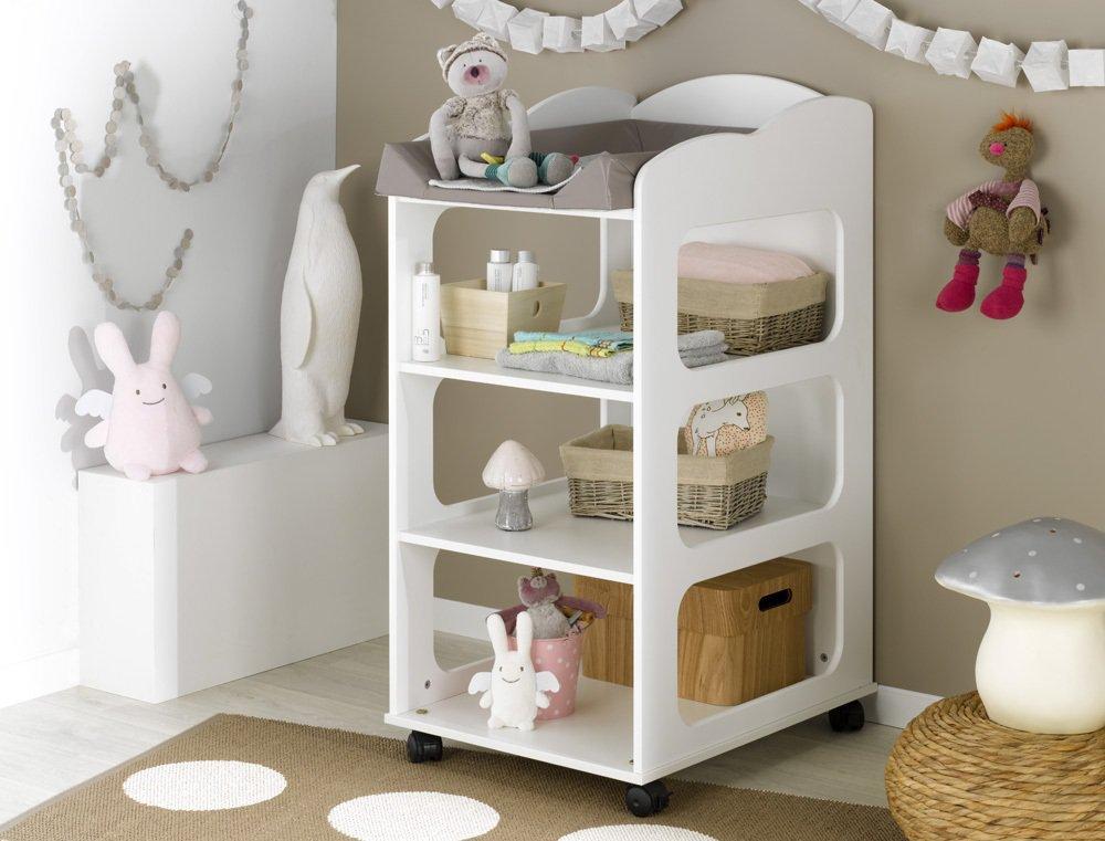 Venta de mueble cambiador con estantes y ruedas color blanco for Table a langer petite largeur