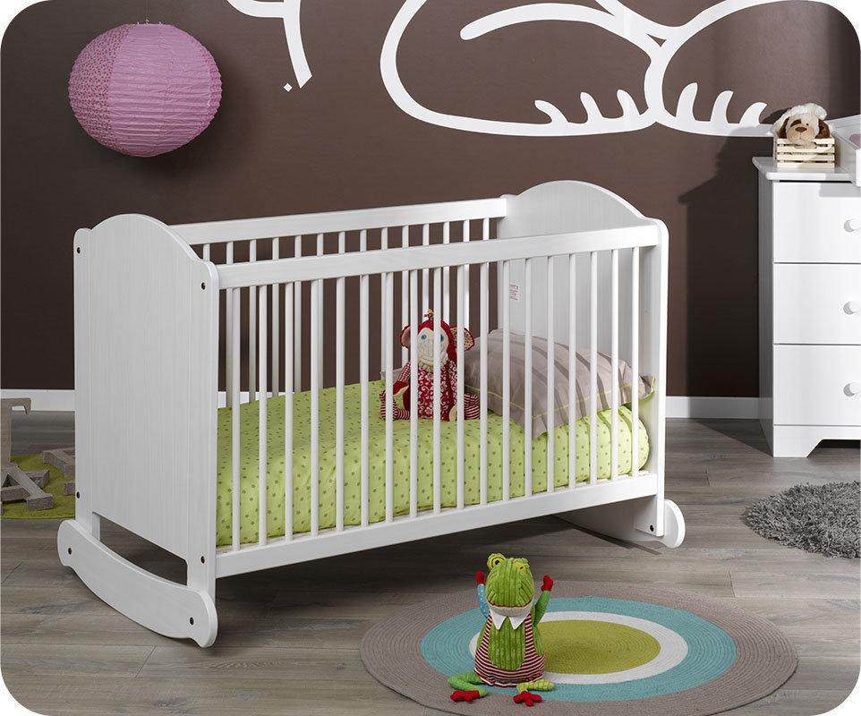 Cuna mecedora nature blanca madera maciza for Cunas para bebes de madera