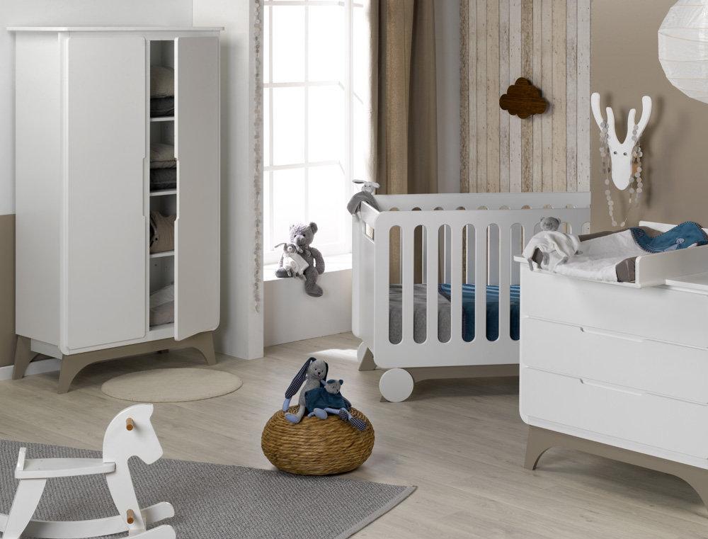 Habitaci n de beb de fabricaci n ecol gica color blanco lino - Habitacion para bebe ...