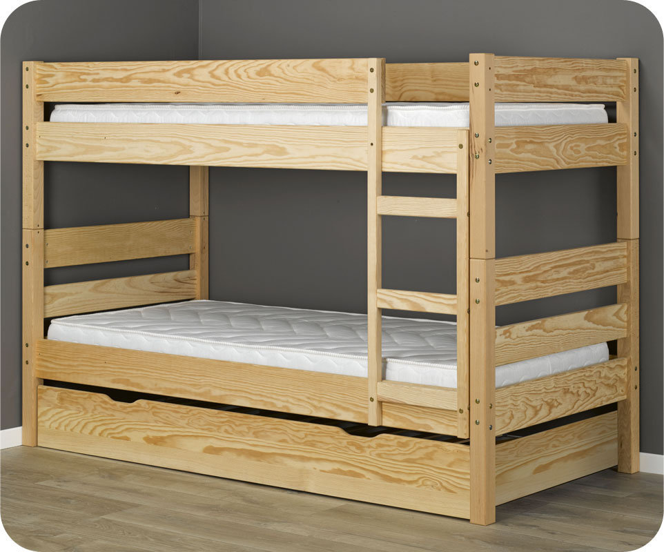 Litera juvenil con cama nido en color natural del modelo for Cama nido color madera