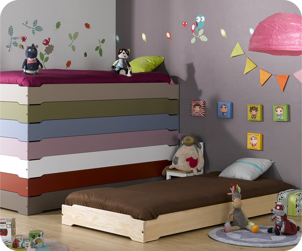 Cama apilable happy 90x190cm con somier color natural - Somier con cajones ...