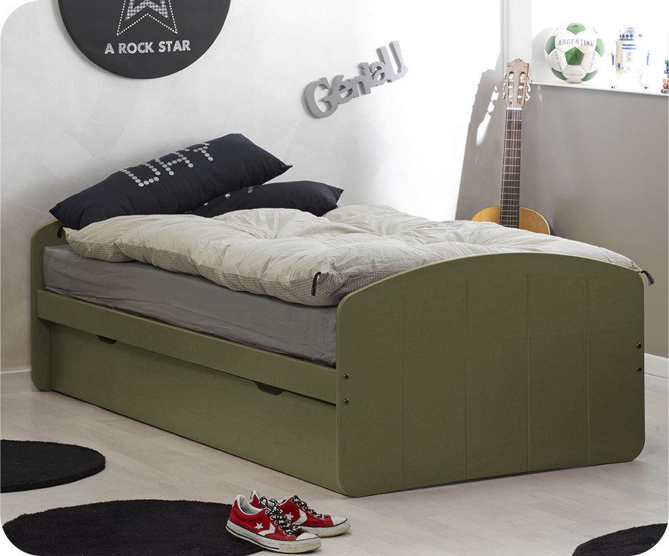 Comprar cama nido juvenil de 90x190cm verde oliva madera for Cama nido color madera