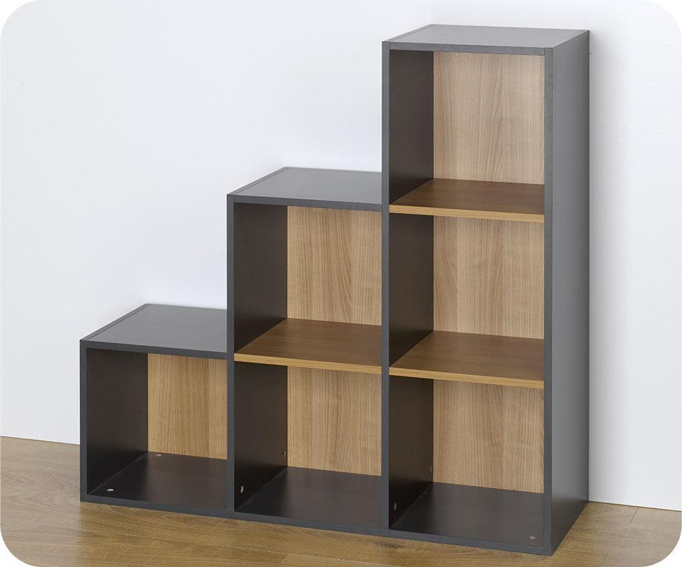 Venta de estanter a modulable escalera 6 compartimentos gris for Estanteria de escalera