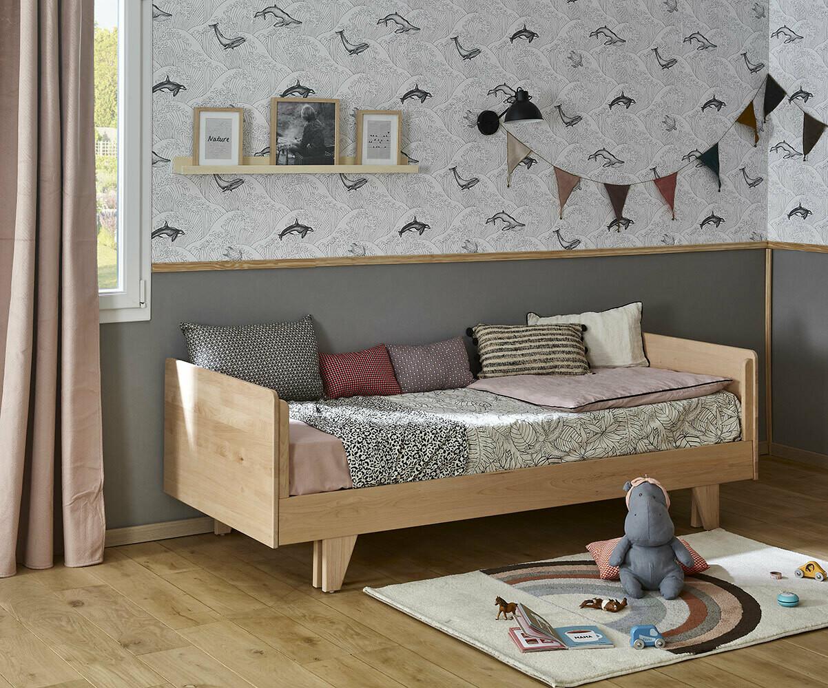Cama nido juvenil madera maciza de 90x190cm color blanco for Cama nido color madera