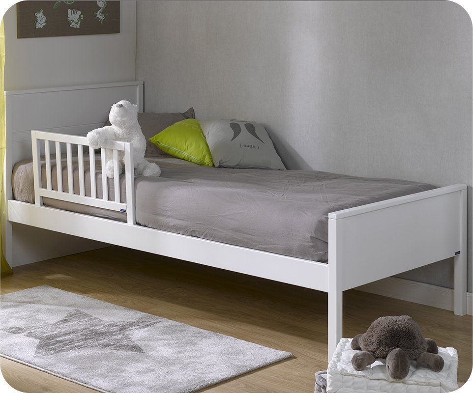 Barrera de cama 70x40cm leonce color blanco for Cama blanca