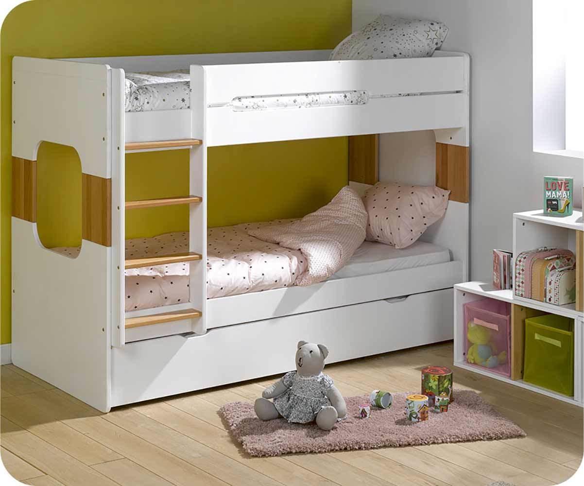 Litera 90x200cm con cama nido en blanco y haya for Cama nido color haya