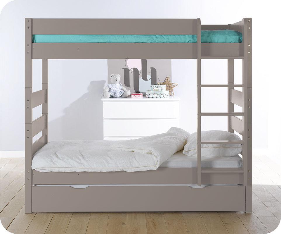Litera alta con cama nido color lino 90x190 cm - Literas nido 3 camas ...