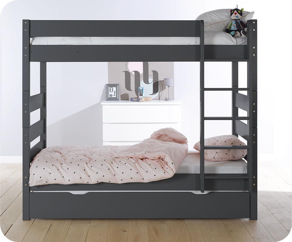 Litera alta con cama nido gris antracita 90x190 cm - Litera con cama nido ...