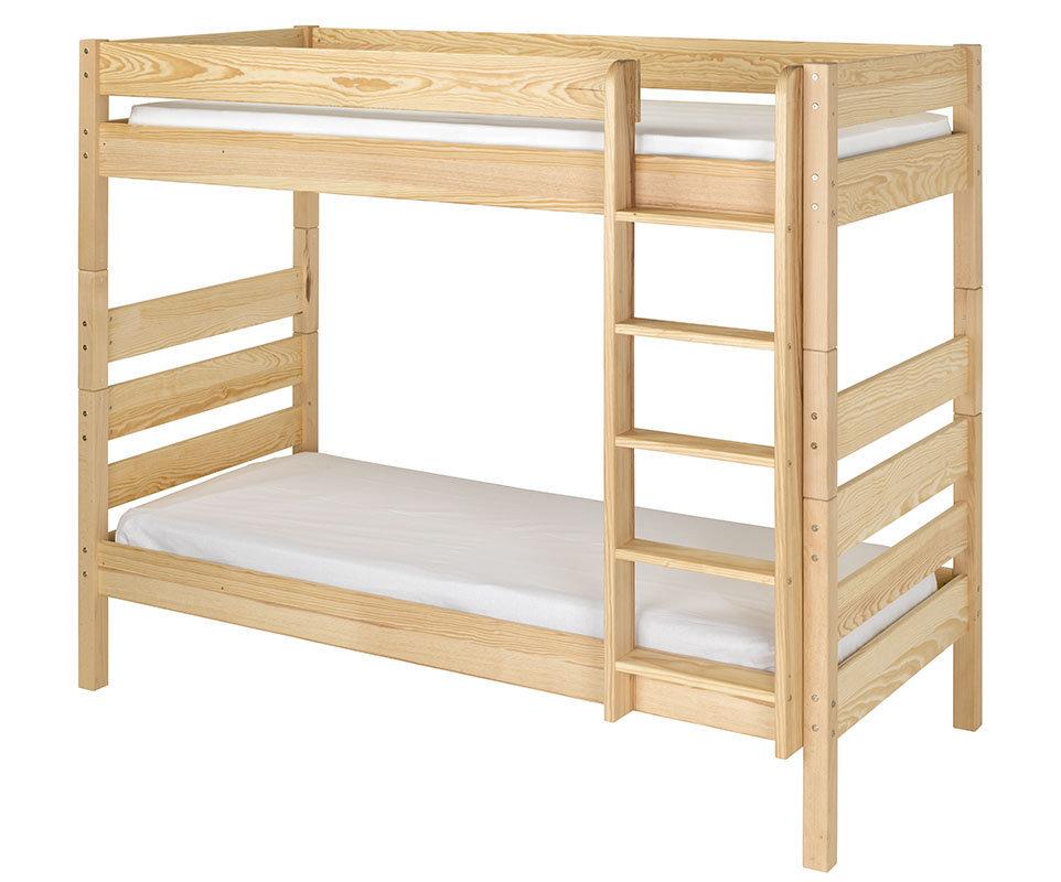 Litera alta con cama nido color narutal 90x190 cm - Literas nido 3 camas ...