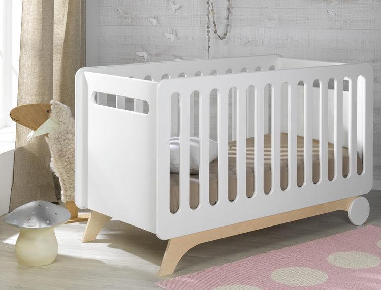 Cuna feliz 70x140cm blanca abedul convertible en sof cama for Imagenes de cunas de bebe