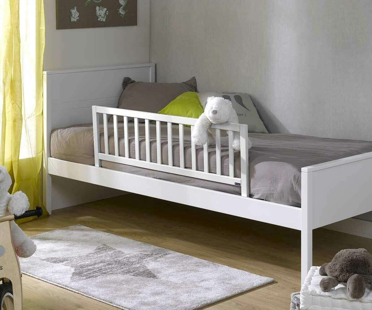 Barrera de cama 120x40cm para cama juvenil color blanca for Camas blancas de madera