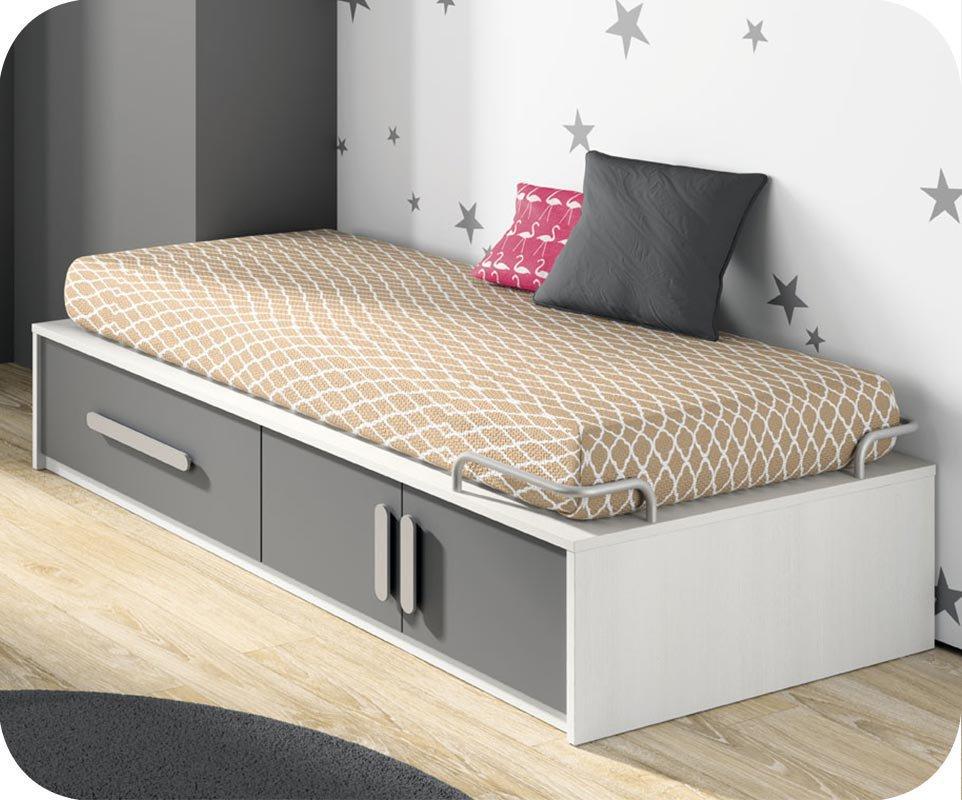 Cama juvenil con almacenaje blanca y gris for Camas con almacenaje