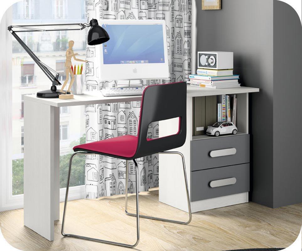 escritorio juvenil planeta blanco y gris antracita