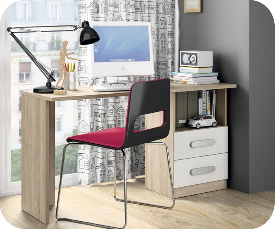 escritorio juvenil planeta blanco y roble