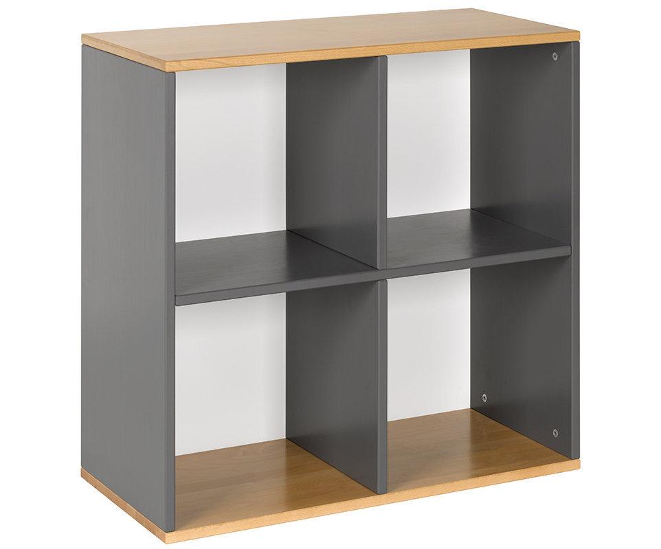 Mueble almacenaje 4 compartimientos gris haya for Muebles para almacenaje