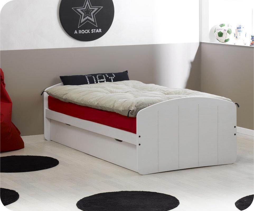 Comprar cama nido blanca 90x200 con 2 colchones for Cama nido con cajones blanca