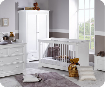 eb habitacin beb completa mel blanca armario puertas cuna convertible