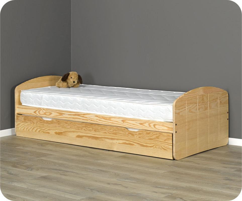 Comprar cama nido con 2 colchones color natural for Cama nido con colchones