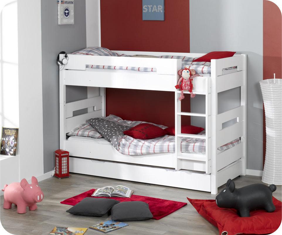 Litera 90x190 cm con cama nido supletoria blanca - Litera con cama nido ...