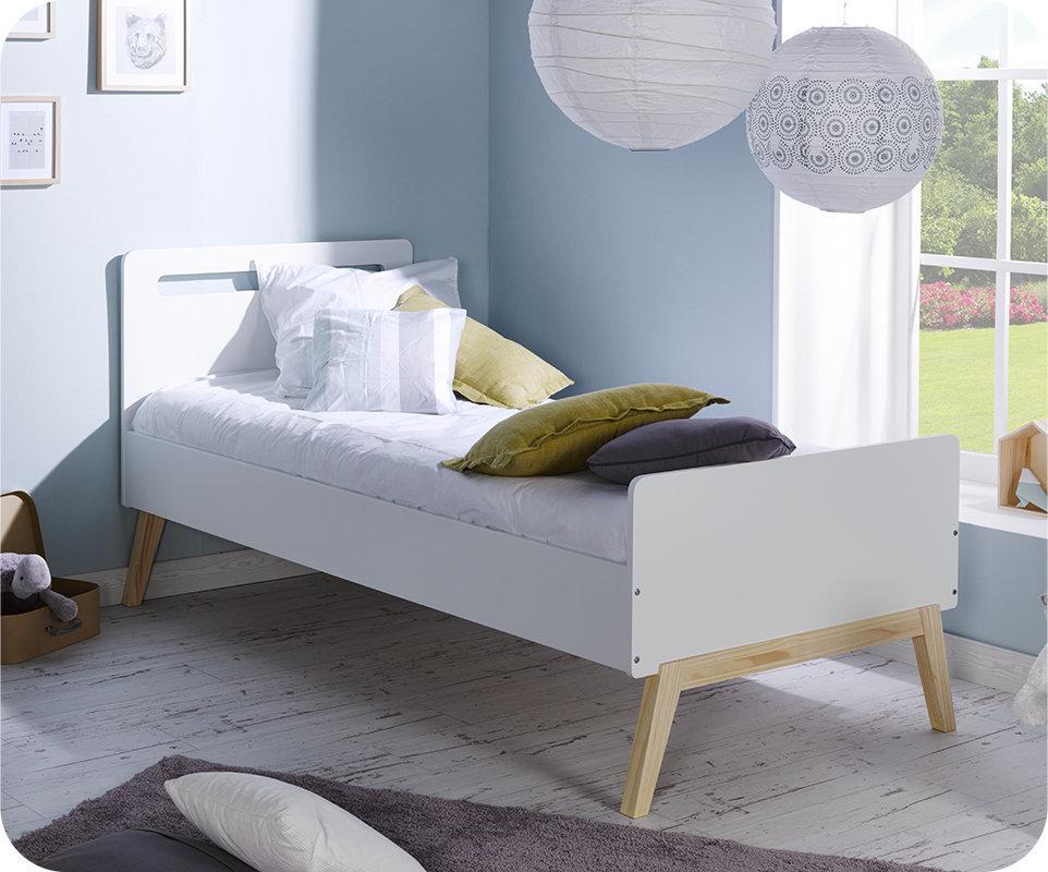 Cama juvenil 90x200 somier y colch n blanco madera for Camas blancas de madera