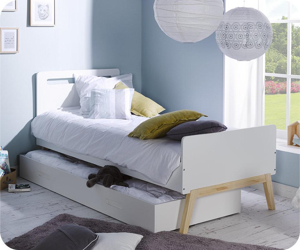cama nido 90x200 con 2 colchones en blanco madera