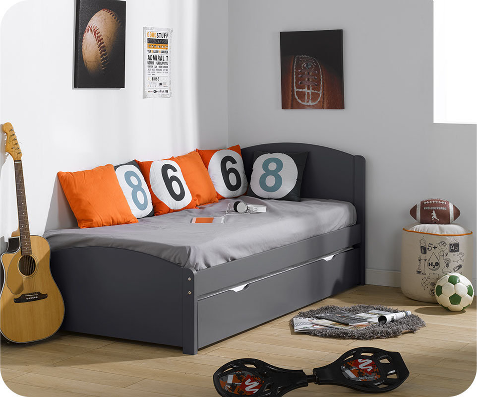 cama nido juvenil nature madera maciza 90x200 gris. Black Bedroom Furniture Sets. Home Design Ideas