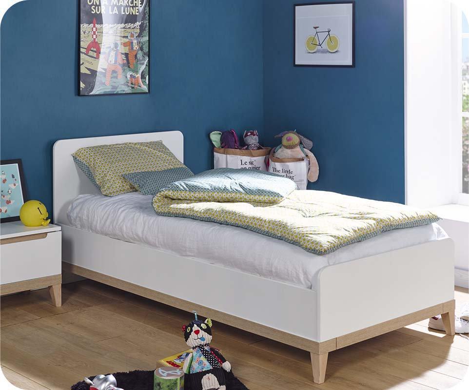 cama juvenil riga blanca y haya xcm