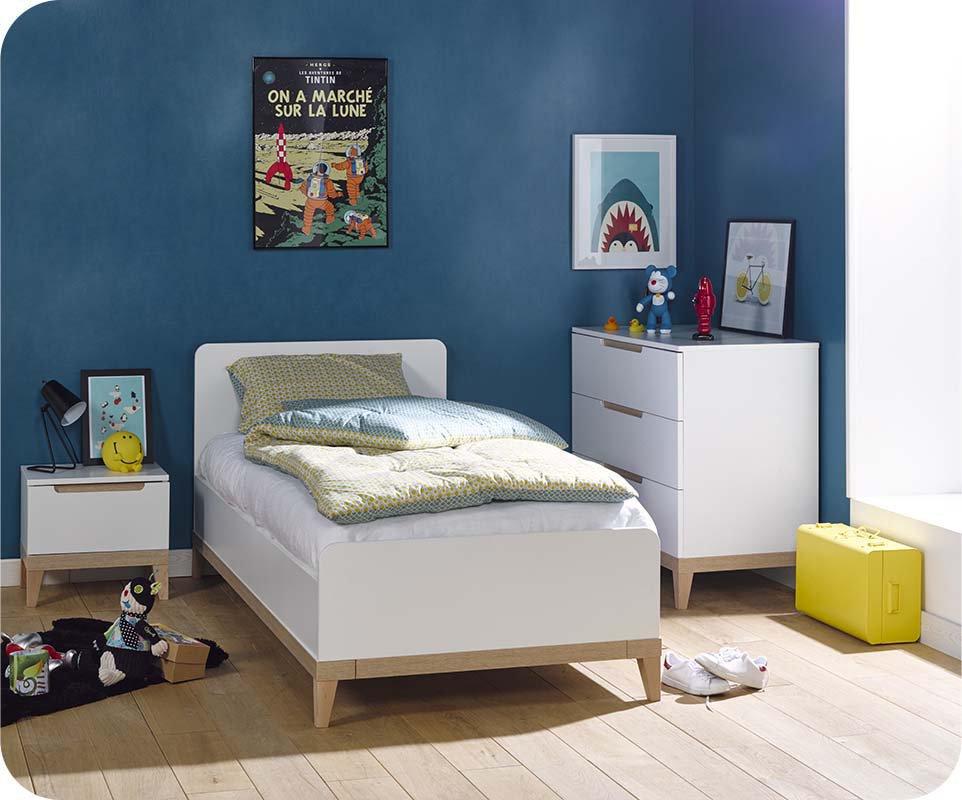 Dormitorio Juvenil Riga de 3 Muebles Blanco y Haya