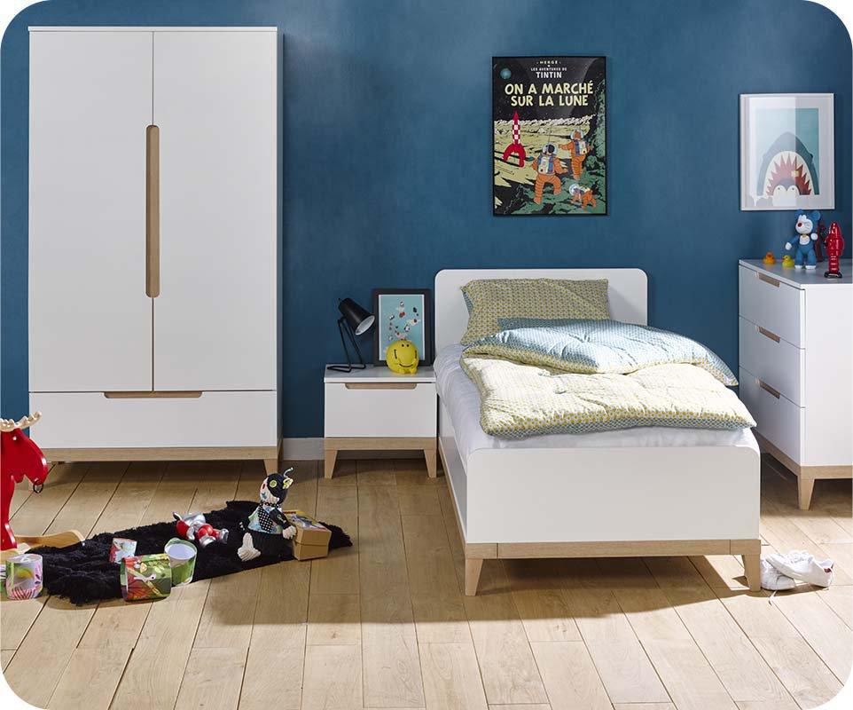Dormitorio juvenil riga de 4 muebles blanco y haya - Dormitorios muebles blancos ...