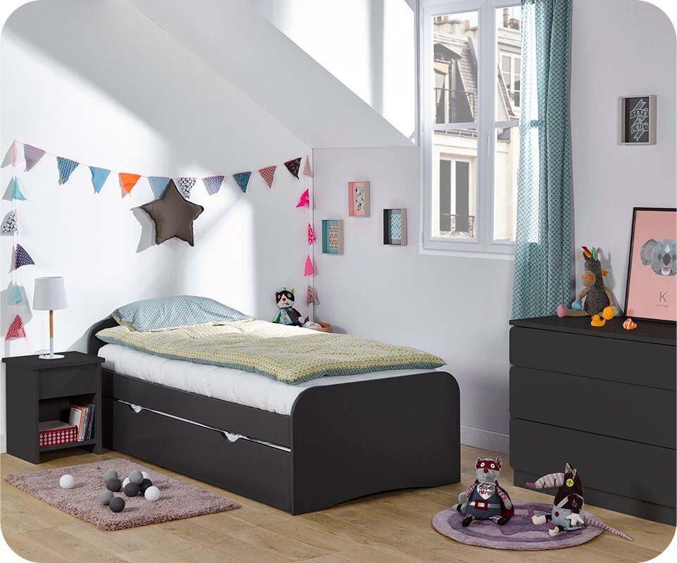 Dormitorio juvenil twist de 3 muebles gris antracita - Muebles dormitorio juvenil ...