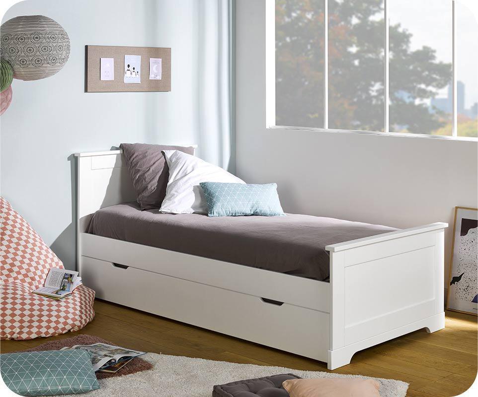 Pack cama nido mel blanca 90x200 y 2 colchones for Cama nido con colchones