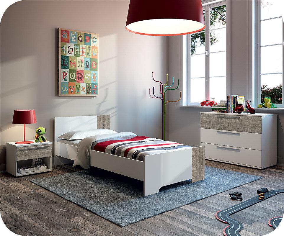Dormitorio juvenil completo jazz blanco y roble gris for Muebles dormitorio blanco y roble
