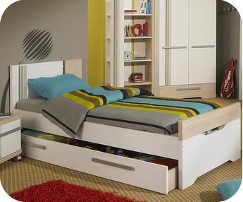 cama juvenil bora blanco y madera xcm