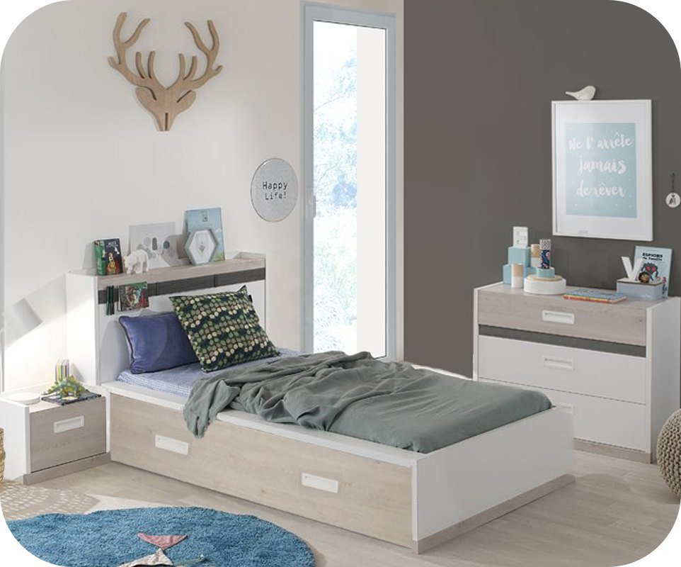 dormitorio juvenil leo de 4 muebles blanco y madera. Black Bedroom Furniture Sets. Home Design Ideas