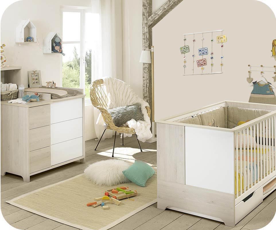 Mini dormitorio de beb lili blanco y madera - Dormitorios para bebes ...