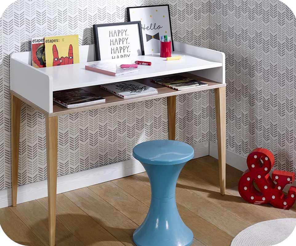 escritorio juvenil riga blanco y madera