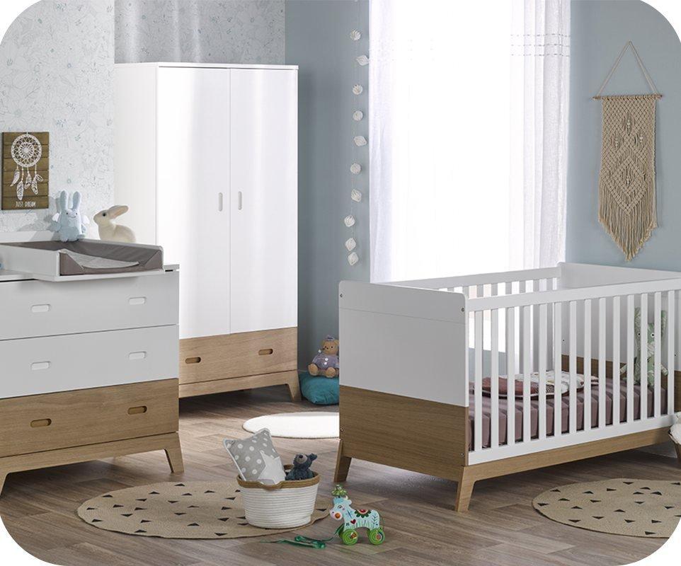 Habitaci n beb completa aloa blanca y madera for Habitacion blanca y turquesa