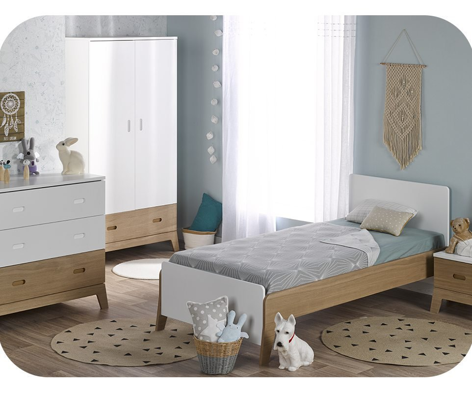 Dormitorio juvenil aloa de 4 muebles blanco madera for Muebles blancos dormitorio
