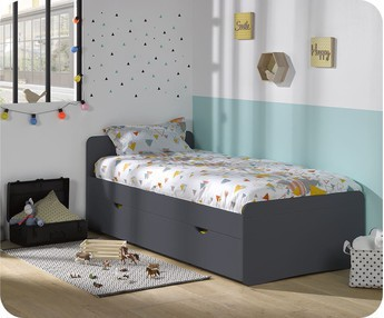 Cama juvenil WILLOW Gris Antracita 90x190cm