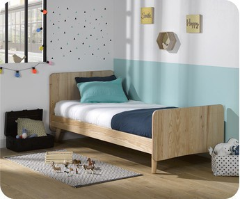 Cama juvenil WILLOW Natural 90x190cm con patas