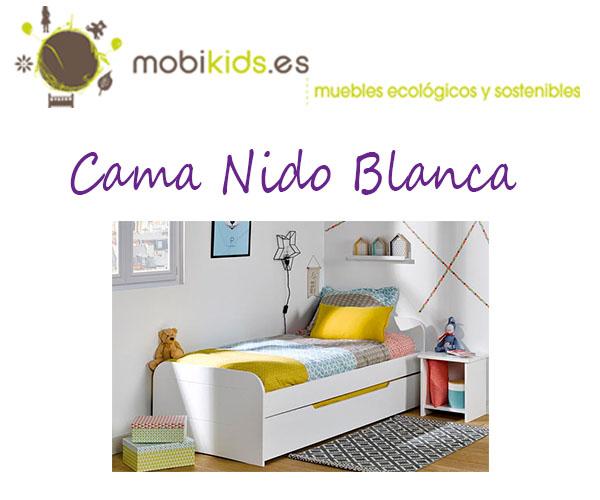Completa dormitorio juvenil con una cama nido blanca for Camas nido blancas precios