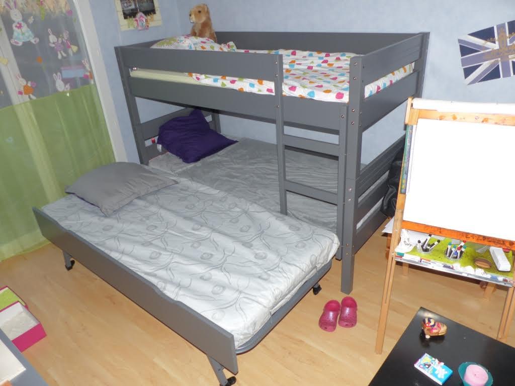 Venta litera juvenil con colchones color antracita for Litera con cama nido