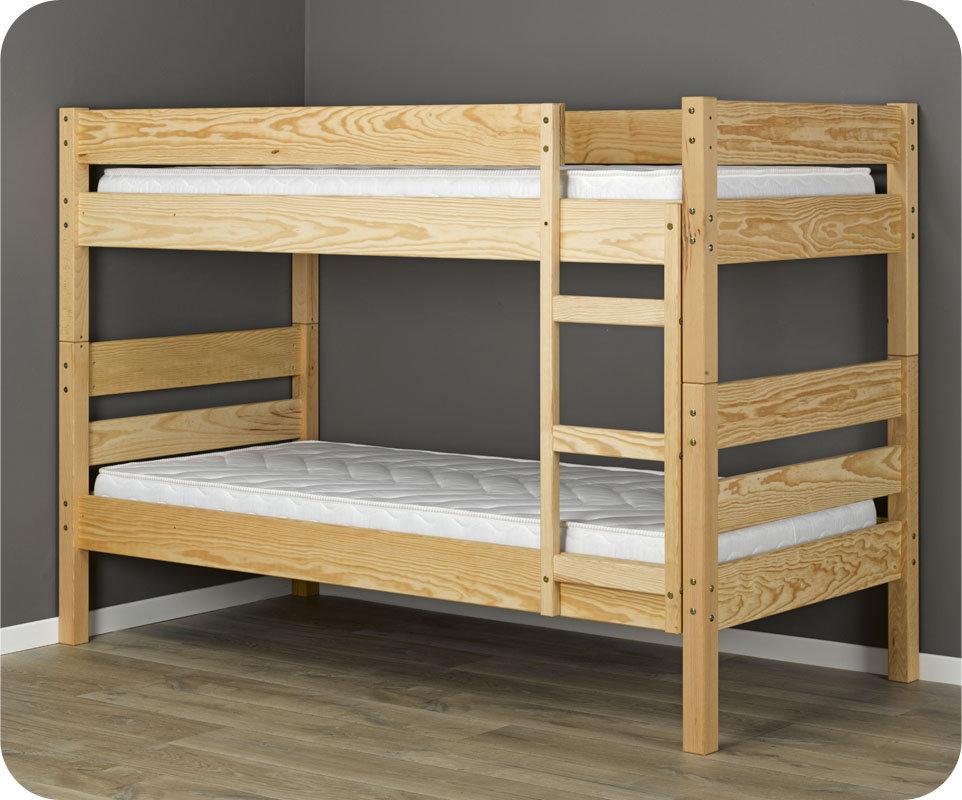 Litera 1 2 3 90x190cm natural madera maciza - Litera para tres ...