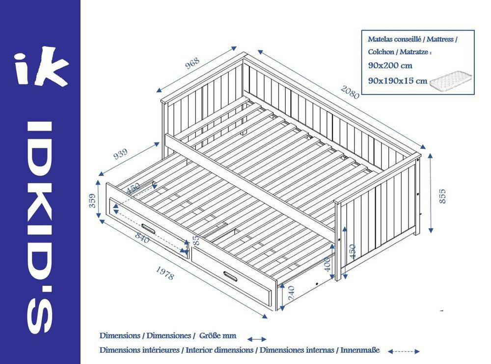 Comprar cama nido juvenil de 90x200cm con colchones y caj n for Dimensiones cama nido
