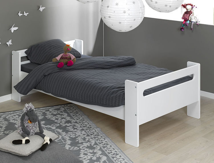 Cama infantil con somier y colch n color blanco for Camas infantiles blancas
