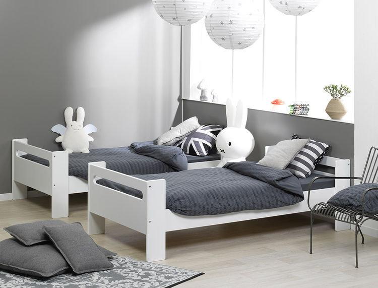 Comprar cama alta juvenil blanca modelo london for Recamaras con camas individuales