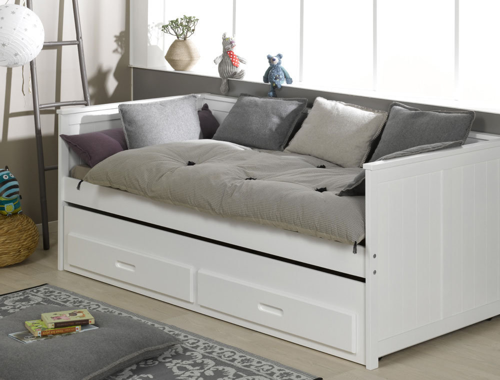 Comprar dormitorio juvenil con cama nido color blanco swam for Sofas para habitaciones juveniles