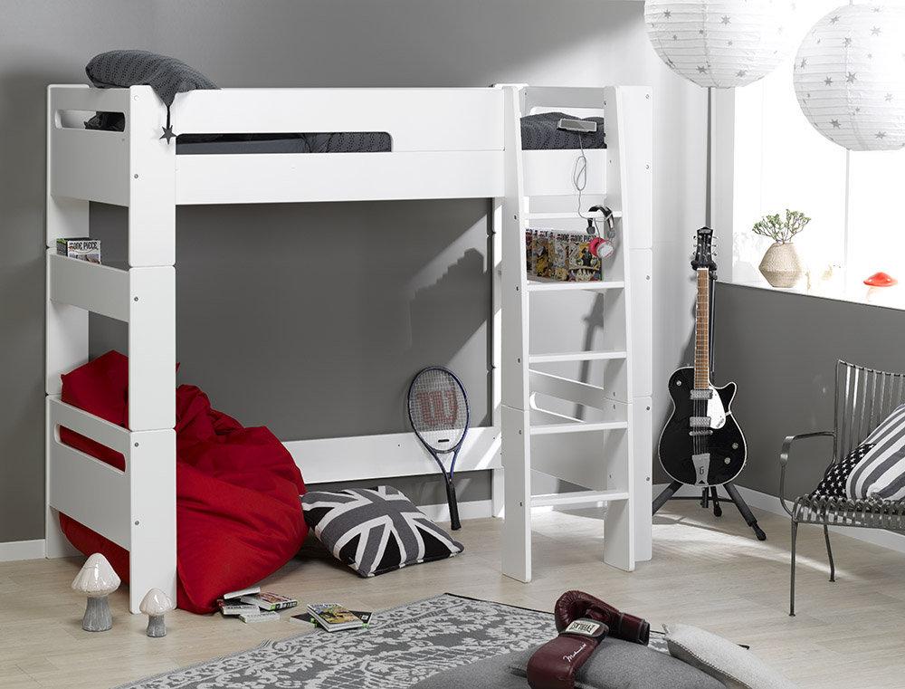 Comprar cama alta juvenil con colch n en color blanco de - Camas altas con armario debajo ...