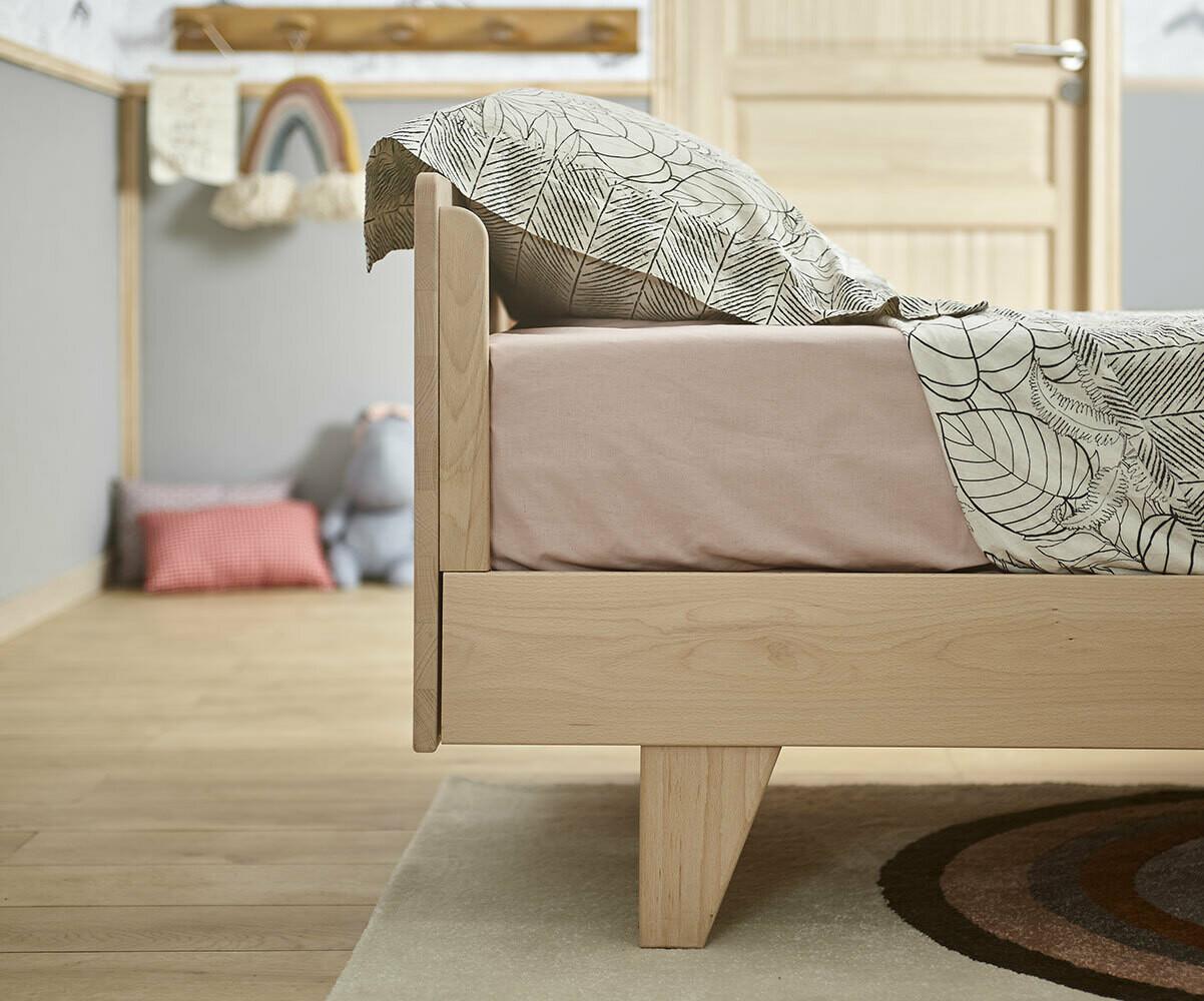 Cama nido con colchones blanca de madera maciza for Cama nido color haya