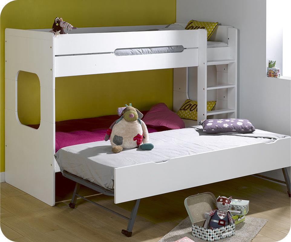Litera juvenil 90x200 de madera maciza modelo spark blanca for Camas literas juveniles